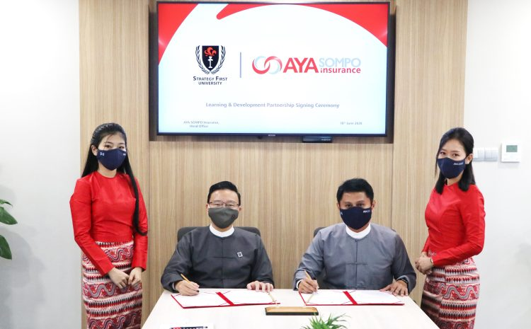 Learning and Development Partnership Signing Ceremony Between AYA SOMPO Insurance and strategy first university